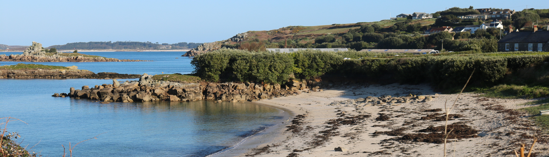 View of the beach near our self-catering holiday apartment on the Isles of Scilly